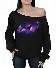 LIPS Galaxy Off the shoulder oversized slouchy sweater sweatshirt