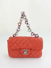 CHANEL AUTH Vintage Orange CC Heart Chain Mini Quilted Flap Shoulder Bag Handbag