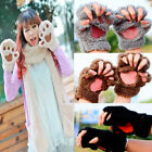 Lovely Womens Cat Claw Paw Mitten Plush Glove Costume Gift Winter Half Finger