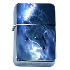 Windproof Refillable Flip Top Oil Lighter Wolf D9 Wilderness Animal Dog Hunter