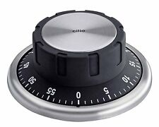 Cilio Premium Safe Style Black 60 Minute Wind Up Kitchen Timer Magnetic Base New
