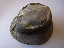 Barbour A115 Waxed Cotton Sports Hat Small Olive Green Vintage ACCp127