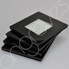 Diamond Crush Black Coaster Set of 4 Drink Cup Glass Mat Home Decor Decoration