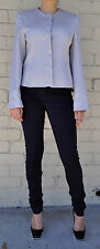 Giorgio Armani Black Label Raise Stripe Silver Grey Jacket Womens 38 Italy