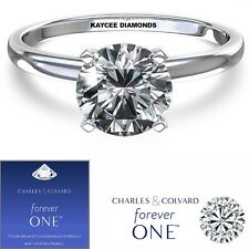 SALE! 0.50 Carat (5mm) Moissanite Forever One Solitaire Ring (Charles & Colvard)