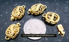 4 Filigree pad clasps 16mm yellow gold plated 1 strand pad clasps fpc210