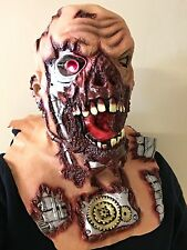 Cyborg Robot Terminator Light Up Eye Mask Latex Halloween Horror Costume Masks