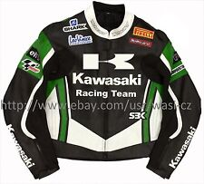 Men Black Green Kawasaki Racing Team Motorcycle leather Jacket XS to 6XL size