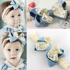 Toddler Flower Headband Baby Girls Elastic Lace Turban Hair Bow Band Accessories