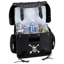 Motorcycle Trunk Cooler Backrest Bag With Skull Crossbones Medallion and Studs