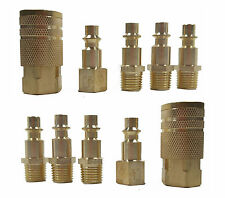 "10 Pc 1/4"" NPT Brass Air Tool Couplers W/ Adapter Quick Disconnect Hose Fittings"