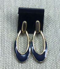 Vintage Style Earrings Enamel Navy Blue Goldtone Door Knocker Elongated Pierced