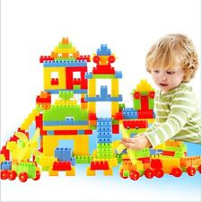 80Pcs Plastic Children Kid Puzzle Educational Building Blocks Bricks Toy Animal