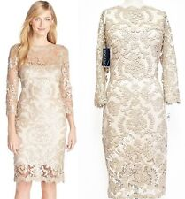 Tadashi Shoji Pearl 3/4 Sleeve Sequin Embellished Lace Sheath Dress 12 $388