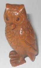 Delicate Boxwood Netsuke: Standing Owl