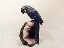 LARGE SEMI-PRECIOUS STONE CARVED PARROT, AMETHYST, SODALITE, ONYX