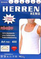 4 x Herren Weisse Unterhemden Feinripp Doppelripp Tank 100% Baumwolle