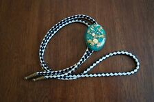 Vintage Large Gold Miner Bolo Tie Real Gold Embedded Black and White Leather