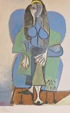 PABLO PICASSO Woman Green Scarf plate signed HAND NUMBERED LITHOGRAPH gouache