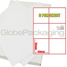 50 Sheets Of Printer Address Laser Labels - 6 Per Sheet