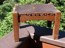 Antique Stickley [?] Oak Mission Style FOOT STOOL w Arched Frame & Leather Top