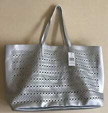 Saks 5th Ave Tote Bag Medium Size Faux Leather SILVER #0217S GWP New