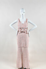 Hellessy NWT $1850 White Red Linen Cotton Striped Ruffle SL Slit Maxi Dress SZ 8