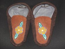 NATIVE AMERICAN  MOOSE HIDE MOCCASIN  9 1/2 INCHES LONG BROWN ENERGIZING DESIGN