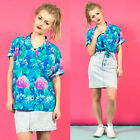 WOMENS VINTAGE 90'S BLUE FLORAL PATTERN CASUAL SHORT SLEEVE SHIRT BLOUSE 16