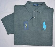 New 2XB 2XL BIG POLO RALPH LAUREN Mens Big Pony shirt top gray 2X solid grey RL