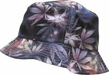 GREY MARIJUANA GALAXY BUCKET HAT WEED LEAF UNIVERSE SPACE PRINT BOONIE CAP 420