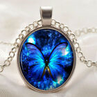 Sexy Vintage Butterfly blue Cabochon Silver plated Glass Chain Pendant Necklace
