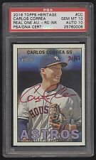2016 Topps Heritage Carlos Correa Real One Red Ink Auto 24/67 PSA 10