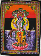 * Indian Hindu God Vishnu Sequined Wall Hanging * Fair Trade * Large