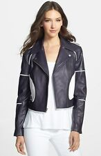 DIane Von Furstenberg 'KENZIE' LEATHER MOTO JACKET sz 4