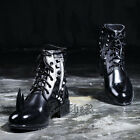 ByTheR Custom Rhino Stud Combat Boots KoreanFashion Leather Black P0000YCT AU