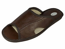 Mens Leather Slippers Shoes Mules Flip-Flops Hand Made Dark Brown Size 6 (EU 40)