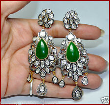 21.12ct ROSE/ANTIQUE DIAMOND EMERALD VICTORIAN WEDDING SILVER EARRING/CHANDELIER