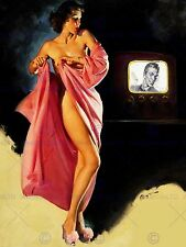 PAINTING LADY UNDRESSED PIN UP VINTAGE TV NEW FINE ART PRINT POSTER CC3382
