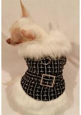 Faux Fur Luxury Black DiamondDOG COAT/DOG JACKET/DOG CLOTHES/Chihuahua/XS,S,M,L