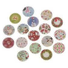 100 Pcs Wood Sewing Buttons Scrapbooking Mixed Sewing Christmas Pattern 20mm