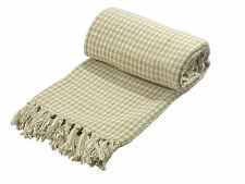 WOVEN HOUNDSTOOTH CREAM BEIGE 100% COTTON THROW BLANKET 127CM X 152CM