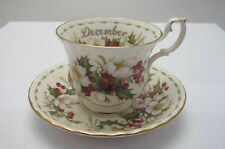 ROYAL ALBERT DECEMBER CUP SAUCER XMAS ROSE FLOWER OF THE MONTH
