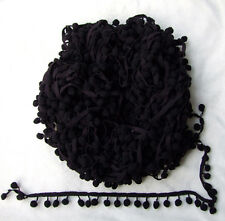 "5Yards/Lot Black cute pompom fringe trim draper ball Accessories 0.8""ball"