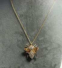 Gold Over 925 Sterling Silver Rhinestone Bee Pin / Pendant w Chain 5.9 grams