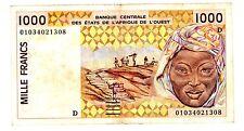 MALI WEST AFICAN STATES / AFRIQUE de l'OUEST Billet 1000 Francs 2001 P411D