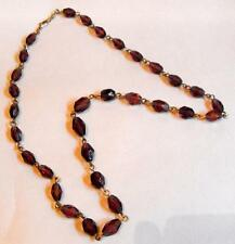 Vintage costume jewellery necklace amethyst glass beads gold tone metal 11186