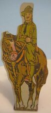 Unusual Antique Tin Toy Soldier Calvary Man on Horse Marx Flatsie 1930s