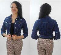 WOMENS LADIES NEW LOOK DENIM WESTERN CROPPED JEAN JACKET 6 8 10 12 14 16 18