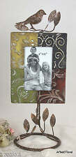Bird Embossed Metal Iron Picture Frame ~ Free Standing Photo Tall